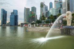 Merlion Park. The Merlion Park overlooking the Singapore Central Business District and the Marina Bay Stock Photography