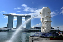 The Merlion Park and Marina Bay Sands Resort Royalty Free Stock Images