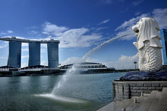 The Merlion Park and Marina Bay Sands Resort Royalty Free Stock Photo
