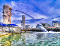 Merlion Park morgens Stockfoto