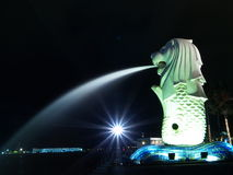 Merlion Park in the night. Merlion Park of Singapore in the night stock photography