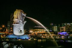 Merlion Park at Night with light of city the best landmark at night royalty free stock photos