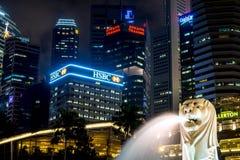 Merlion Park at Night, Marina Bay Waterfront - Singapore stock photo