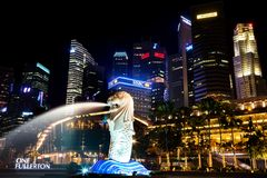 Merlion Park at Night, Singapore Royalty Free Stock Photography