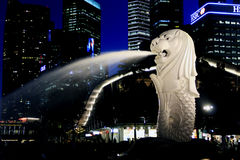 Merlion Park. Side view of the Merlion at night Royalty Free Stock Photos