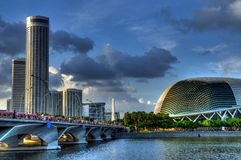 Merlion Park, Singapore. A photo of the Merlion Park overlooking the Marina central business district skyline Stock Photography