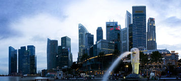 Merlion Park Singapore. Panoramic picture of Merlion park at Singapore Stock Image