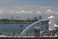 Merlion Park, Singapore April 1, 2012: Merlion, Tourist attraction in Singapore Stock Photo