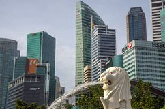 Merlion Park is a Singapore landmark and major tourist attraction, Singapore royalty free stock image