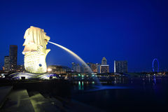 Merlion park.Singapore skyline. Merlion statue fountain in singapore at night Royalty Free Stock Image