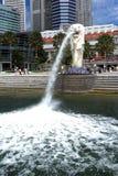 Merlion park.Singapore skyline Stock Photo