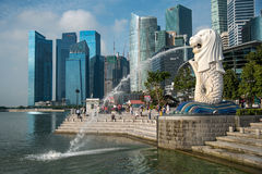 Merlion Park and skyline of Singapore Stock Images
