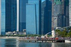 Merlion Park and skyline of Singapore Stock Photos