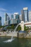 Merlion Park and skyline of Singapore Stock Photo