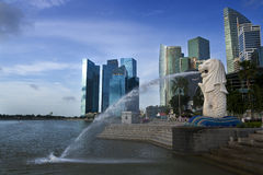 Merlion shooting water. Merlion, one of landmark of Singapore Royalty Free Stock Photography