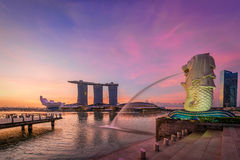 merlion singapore Arkivbilder