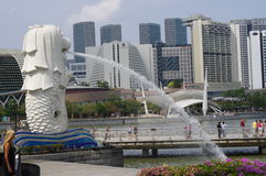 The Merlion at Singapore marina Royalty Free Stock Images