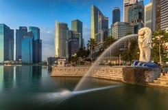 Merlion at Singapore. Merlion point at Singapore (Landmark of Singapore), Morning time royalty free stock images
