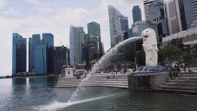 Merlion in Singapore stock footage