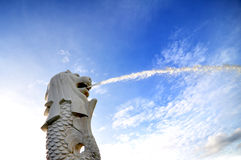 Merlion, Singapour Images libres de droits