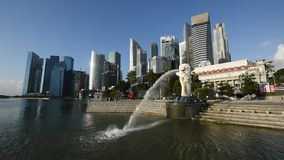 Merlion and skyline sunrise stock footage