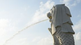 Merlion statue against morning sky