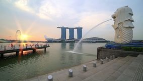 The Merlion Statue with the City Skyline, Singapore stock video footage