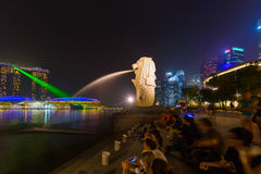 Merlion statue fountain in Singapore - city skyline Royalty Free Stock Photography