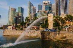 Merlion statue landmark in Singapore Stock Photos