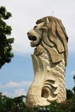 Merlion Statue at Sentosa Singapore. The Merlion consists of a lion's head and a fish tail Royalty Free Stock Photo