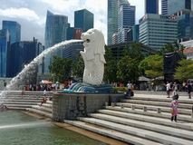 Merlion Statue Singapore. The amazing Merlion statue in Singapore stock photo