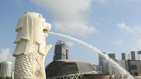 Merlion statue with skyline stock footage
