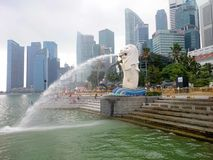 Merlion. The Merlion is a well-known marketing icon of Singapore depicted as a mythical creature with a lion`s head and the body of a fish. It is widely used as Royalty Free Stock Photos