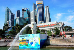 Merlionen parkerar Singapore Royaltyfri Bild