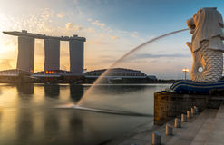 Merlions-Punkt in Singapur lizenzfreies stockfoto