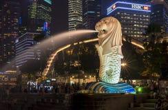 Merlions-Statuen in Singapur Lizenzfreie Stockfotos