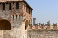 Merlons and bell towers, Soncino Royalty Free Stock Photos
