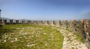 Merlons and grass over ramparts at Sarzanello fortress, Sarzana Royalty Free Stock Photography