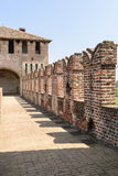 Merlons and walk on top of the walls, Soncino Castle. Foreshortening of western side the walk set on top of the caslle walls of main inner court in the ancient stock photography