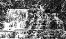 Merloquet Falls in Black and White royalty free stock images