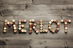 MERLOT written with corks royalty free stock photography