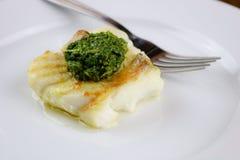 Merluzzo Pan-arrostito con Chermoula Immagine Stock
