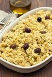 Merluzzo portoghese del piatto con la patata e le uova sul piatto Fotografia Stock