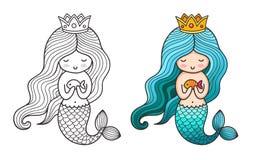 Mermaid公主 逗人喜爱的漫画人物 向量例证