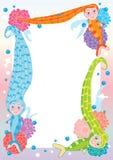 mermaid волос рамки eps длинний Стоковое Изображение RF