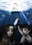 mermaid ребенка подводный стоковое изображение