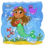 mermaid шаржа милый Стоковое Изображение