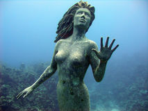 Mermaid. This stunning bronze mermaid stands proud in the beautifully blue ocean Royalty Free Stock Images