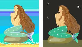 Mermaid. Sitting on a rock and waiting for her prince Royalty Free Stock Photos