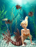 Mermaid. Illustration of a mermaid in the ocean Stock Photography